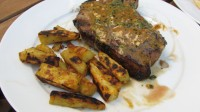 Grilled Pork Chops w/ Mustard-Herb Sauce and Sweet Potato Fries