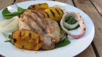 Grilled Chicken and Peaches w/ Arugula