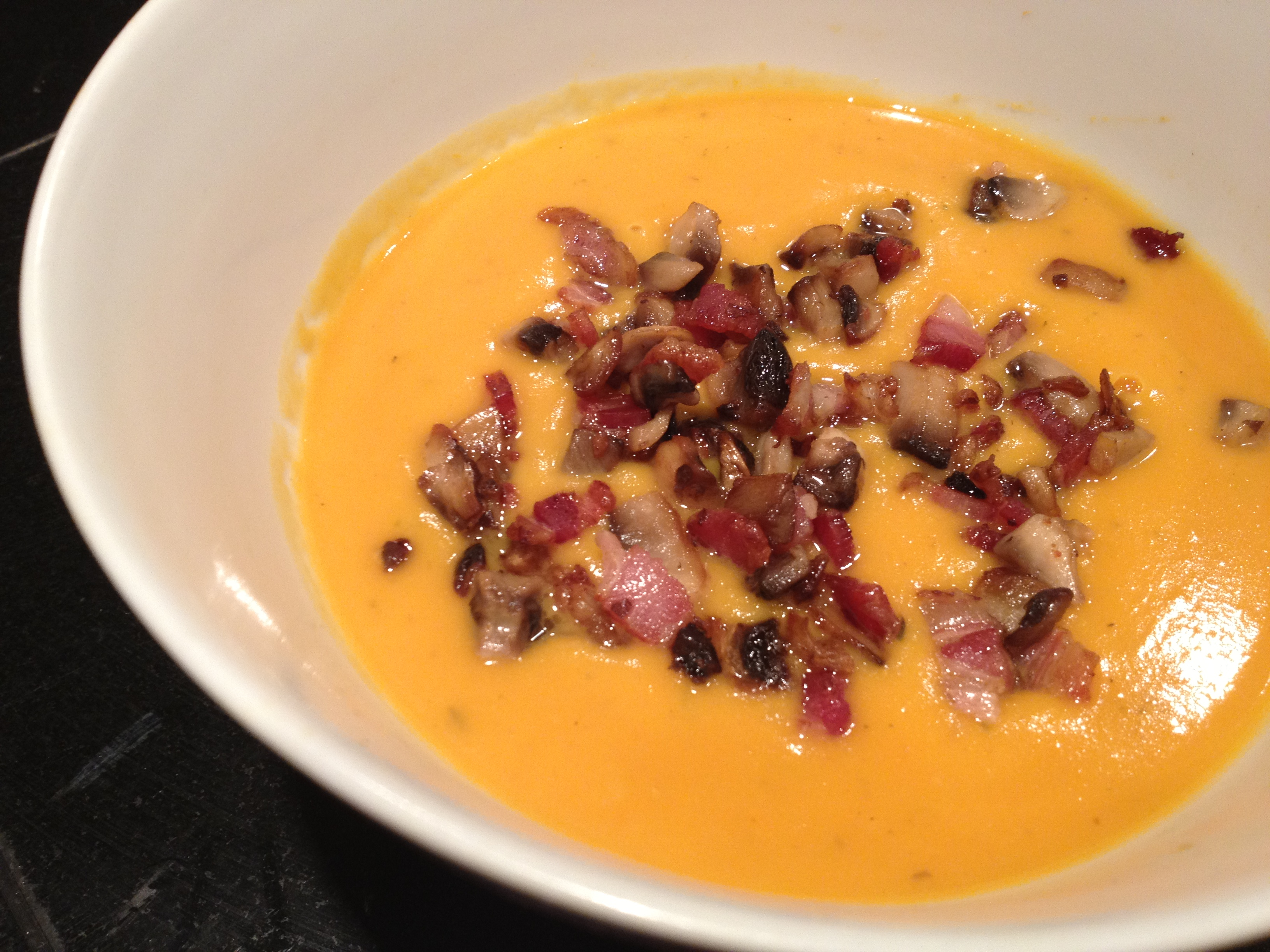 Recipe: Creamy Sweet Potato Soup w/ Bacon-Mushroom Topping | The Paleo ...